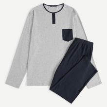 Men Contrast Pocket Heather Knit Tee & Pants PJ Set