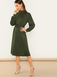 Mock Neck Lantern Sleeve O-ring Belted Dress