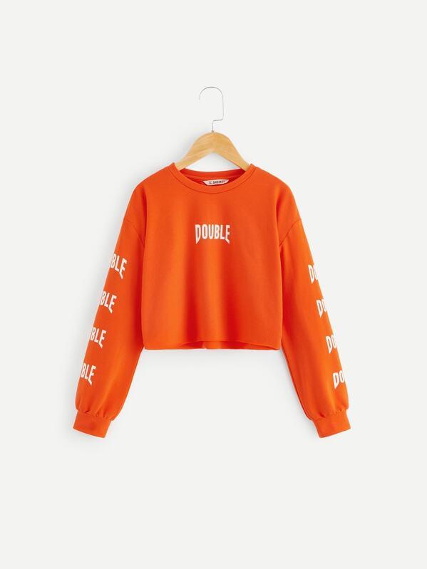 a9983237f3 Shoptagr | Girls Letter Print Raw Hem Sweatshirt by Shein