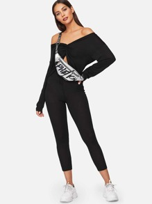 Twist Front Off Shoulder Crop Top and Knot Leggings Set