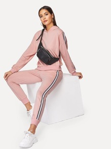 Drop Shoulder Striped Hoodie and Sweatpants Set