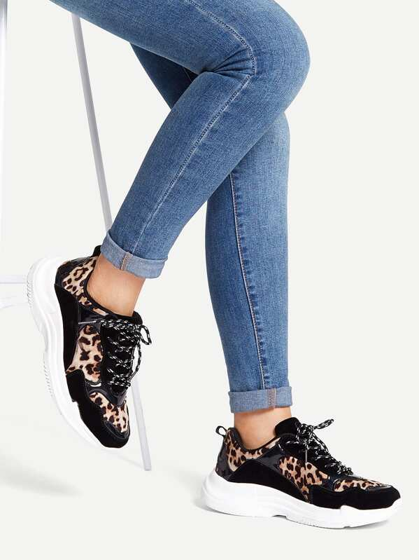 e60ad475d Leopard Pattern Lace-up Chunky Sneakers | SHEIN UK