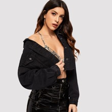 Drop Shoulder Ripped Crop Denim Jacket