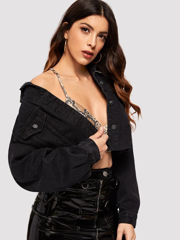 Drop Shoulder Ripped Crop Denim Jacket by Sheinside