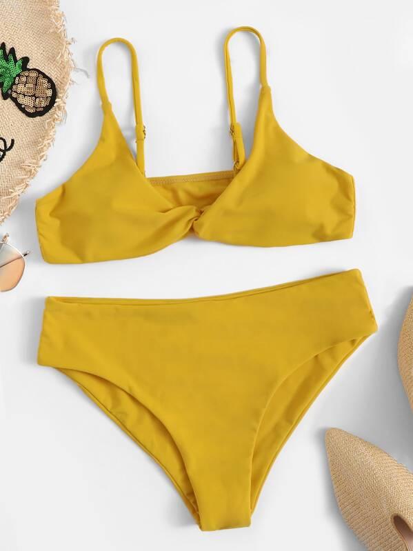 Twist Top With Panty Bikini Set by Sheinside