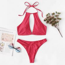 Cut-out Random Gingham Bikini Set