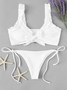 Frill Top With Tie Side Bikini Set