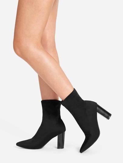 fd20b46f50ae Point Toe Chunky Heeled Boots