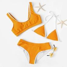 SHEIN   Contrast Trim Swimwear Set 3pack   Goxip