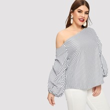 Plus Asymmetric Shoulder Gathered Sleeve Pinstripe Top
