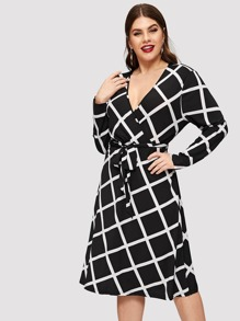 Plus Surplice Neck Grid Dress