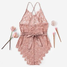 Criss Cross Belted Floral Lace Teddy Bodysuit