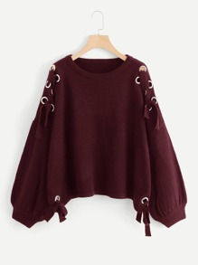 Plus Grommet Lace Up Shoulder Sweater