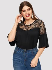 Plus Flounce Sleeve Floral Lace Yoke Top