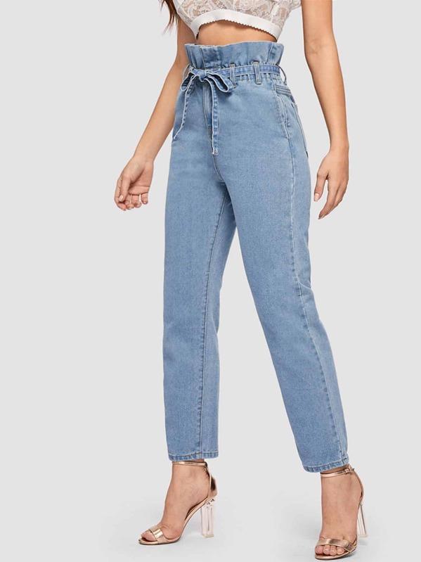 c1a53262b2 Paperbag Waist Slant Pocket Self Belted Jeans | SHEIN