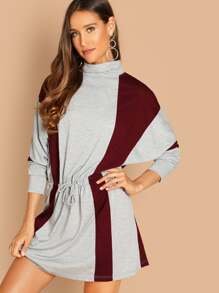 Dolman Sleeve Drawstring Waist Two Tone Sweatshirt Dress