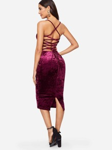 Lace Up Back Crushed Velvet Cami Dress