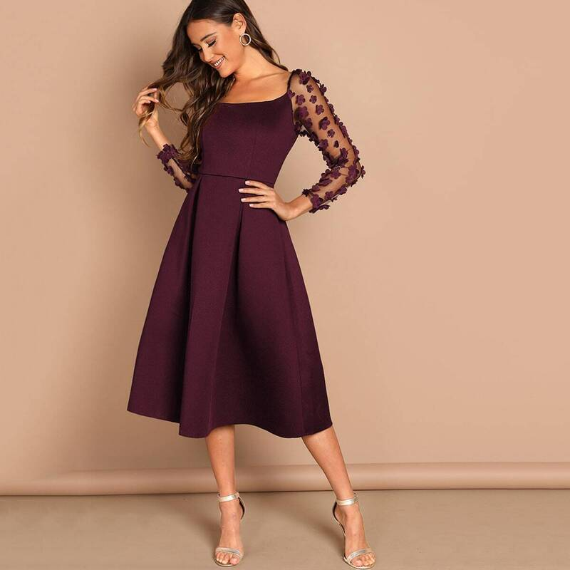 Flower Applique Mesh Panel Flare Midi Dress, Burgundy