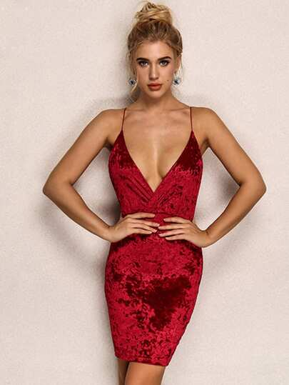 Joyfunear Plunging Neck Armhole Velvet Cami Dress