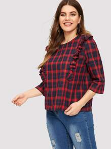 Plus Ruffle Plaid Blouse