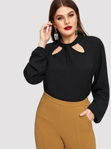 Plus Cut Out Solid Blouse