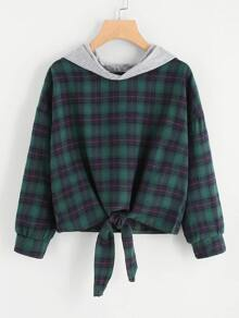 Plus Knot Hem Plaid Hooded Blouse