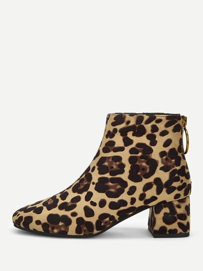 1393d46f297 Leopard tryckta zip stövlar