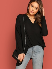 Cross Draped Asymmetrical Blouse