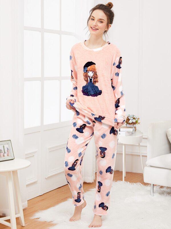 4b5e31305d Conjunto de pijama con felpa con estampado de niña de dibujos animados