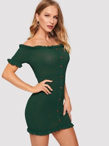Frill Trim Button Front Smocked Bardot Dress