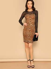 Mesh Yoke Leopard Print Bodycon Dress