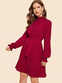 Frill Trim Covered Button Front Belted Dress
