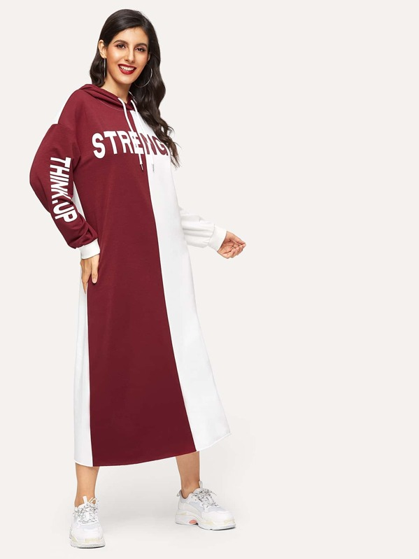 81adc3d98b Color Block Letter Print Hoodie Dress | SHEIN