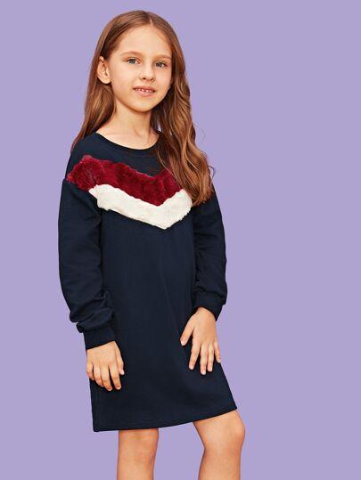 06347a03f64 Robe sweat-shirt avec fourrure synthétique