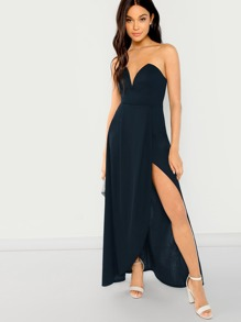 V Cut Tube Split Maxi Dress