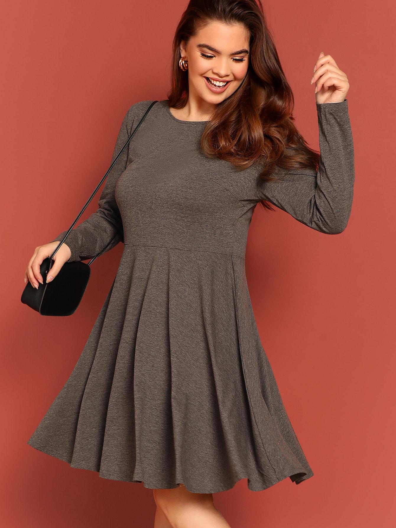 d1a7e64a4e Heathered Skater Dress | SHEIN UK
