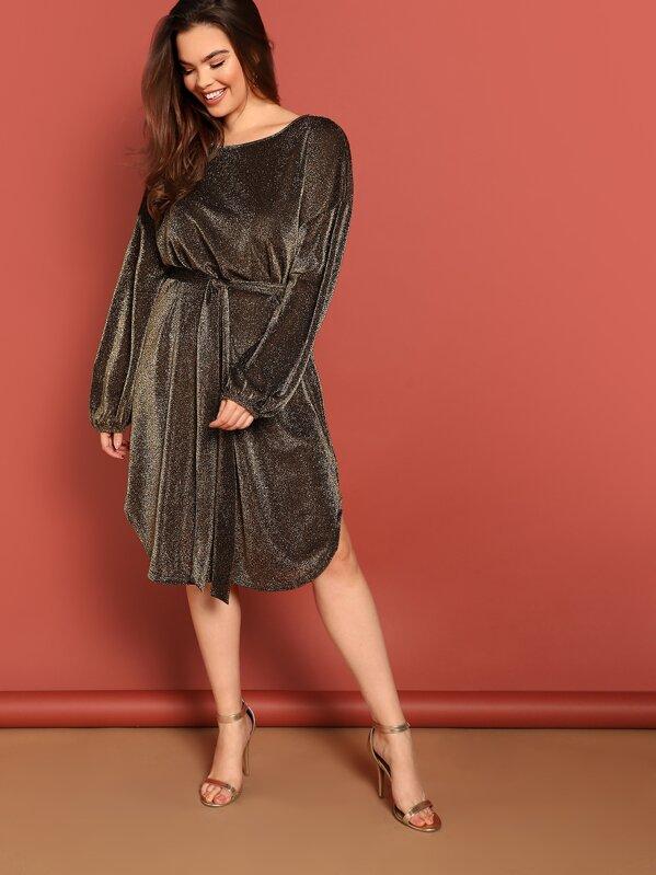Plus Curved Hem Glitter Dress