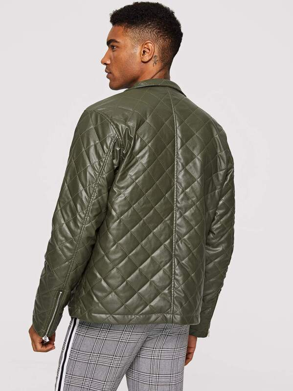 d5efdde926 Men Zip Cuff Quilted Faux Leather Jacket | SHEIN