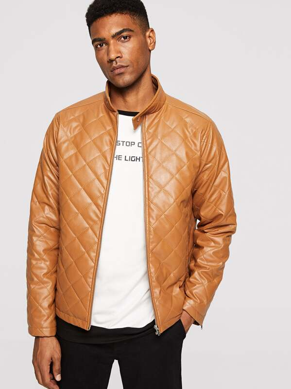 c6c62c5fd7 Men Zip Cuff Quilted Faux Leather Jacket | SHEIN IN