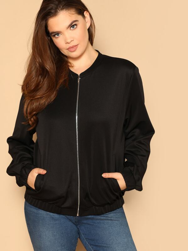 Shein Plus Zip Up Solid Bomber Jacket by Sheinside