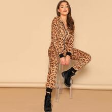 Zip Front Leopard Print Hooded Jumpsuit