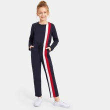 Girls Drawstring Waist Color Block Sweat Jumpsuit