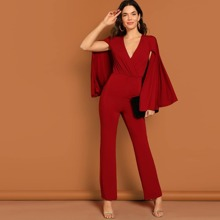 Surplice Neck Straight Leg Cape Jumpsuit