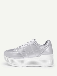 Metallic Lace-up Chunky Sneakers