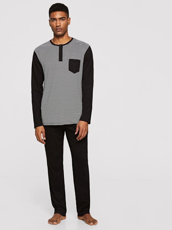 573b872568 Men Pocket Front Striped Top & Pants Pajama Set   SHEIN