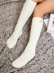 Embroidery Calf Length Socks 1pair