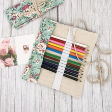 Flower Print Roll-Up Pencil Case
