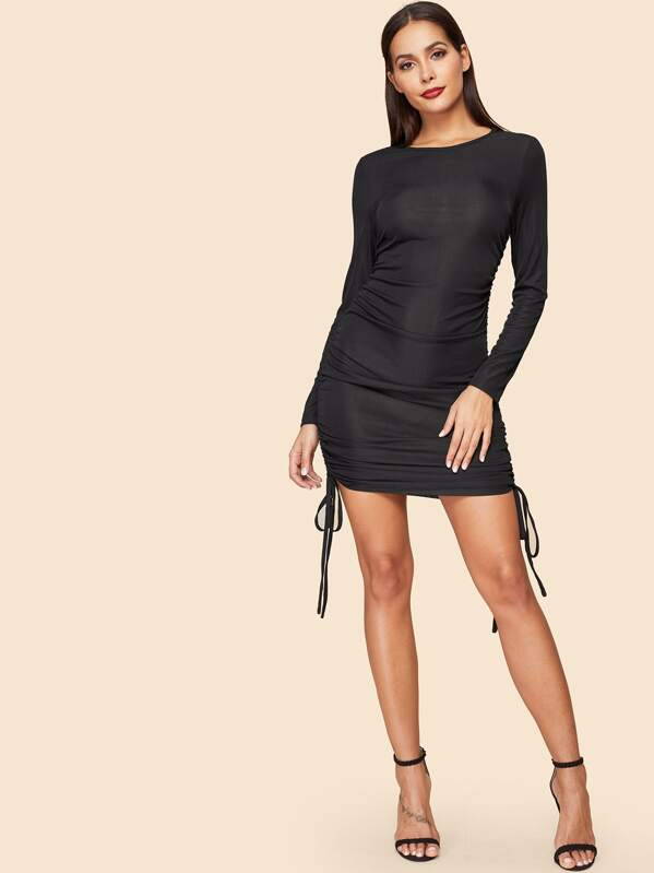 Drawstring Side Ruched Solid Bodycon Dress