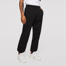 Men Patch Pocket Detail Seamed Sweatpants