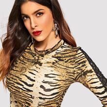 Mock-neck Lace Insert Leopard Bodycon Dress